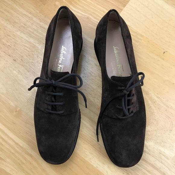 Salvatore Ferragamo Shoes - SALVATORE FERRAGAMO Brown Hipster Suede Sz 9 1/2 B